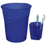 Paper basket + pencil holder blue
