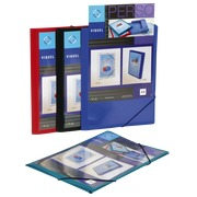 Personalizable plastic sleeve with 3 folds and elastic Viquel 24 x 32 cm back 1,5 cm assortment