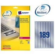 Box of 3780 super strong labels Avery L 6008 25,4 x 10 mm grey metallic for laser printer