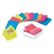 Pack dispenser + 12 coloured Z-Notes Super Sticky Post-it