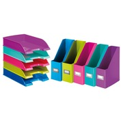 Pack 5 mail baskets and 5 document holders Leitz Wow assorted colours