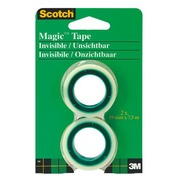 Blister van 2 rollen Scotch Magic Invisible kleefband met kleine houder 7,5 m