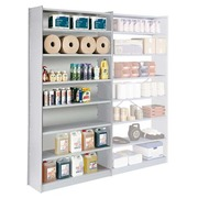 Versatile shelving, H 250 cm, basic element, W 120 cm, with back panel