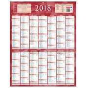 Wall calendar year 2020 - 14 months front / white back - red - 55 x 43 cm