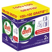 Pack dishwashing tablets Dreft original All in 1: 100 tablets + 100 tablets for free