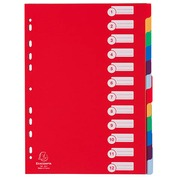 Dividers A4 colored polypropylene frosted Exacompta 12 neutral and rewritable tabs multicolored - 1 set