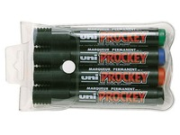 Uni Prockey, set of 4 markers, cone tip, assorted colours