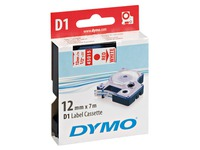 Lint polyester Dymo D1 S0720550 12 mm wit met rode tekst