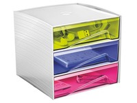 Mini storage module in plastic Cep My Cube 3 drawers multicoloured